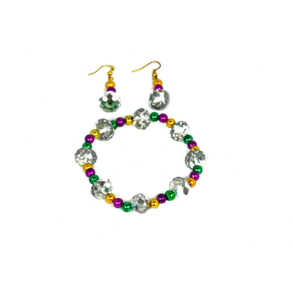 Clear Glass and 6mm Purple, Green, and Gold Beads Jewelry Set