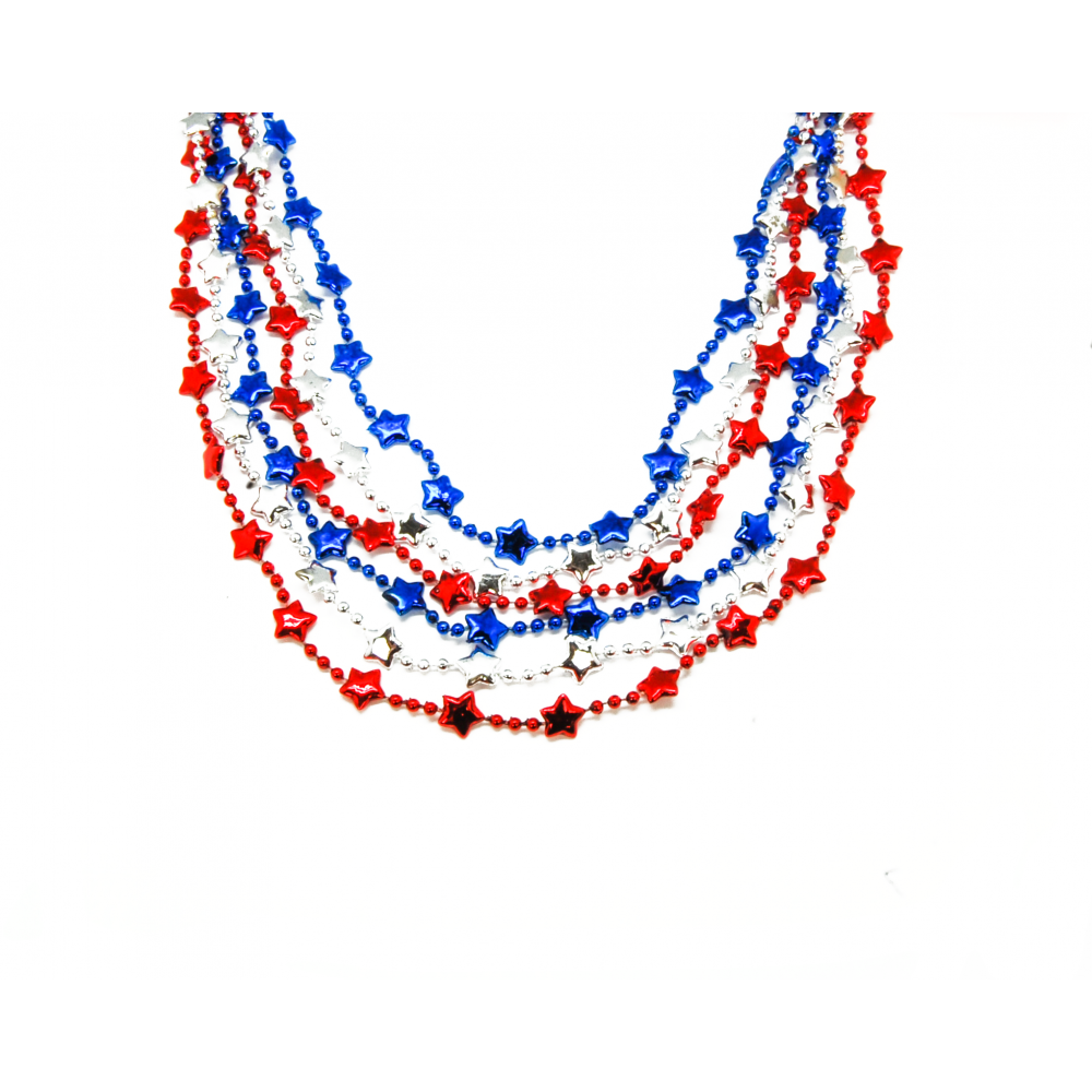 """48"""" Star Beads Red, Blue and Silver"""