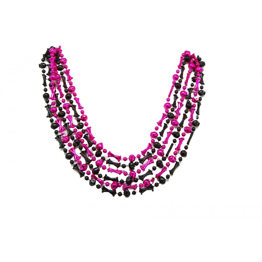 """42"""" HOT PINK AND BLACK SKULL BEADS"""