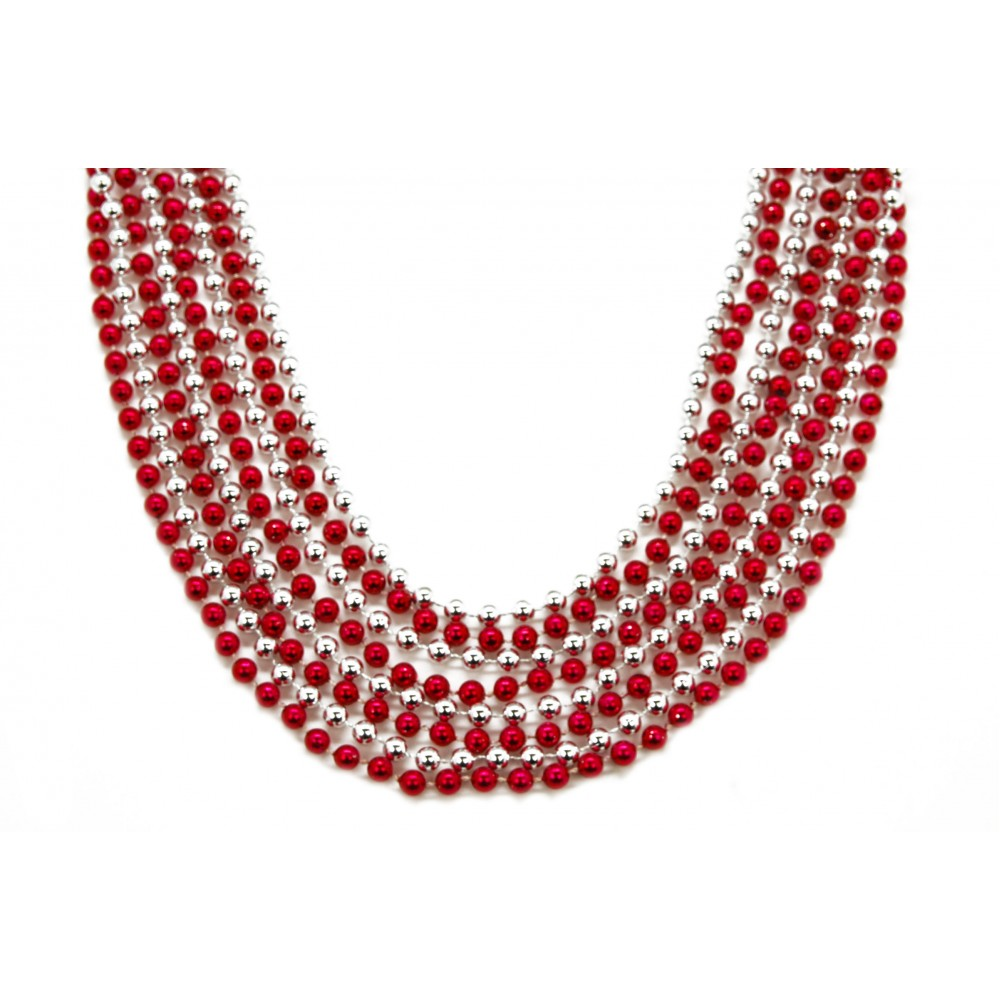 "33"" 7mm Round Beads Red and Silver"