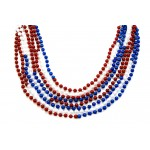 """33"""" 7mm Round Beads Red, White, and Blue Sectional"""