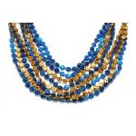 "33"" Blue and Orange Tiger Paw Beads"