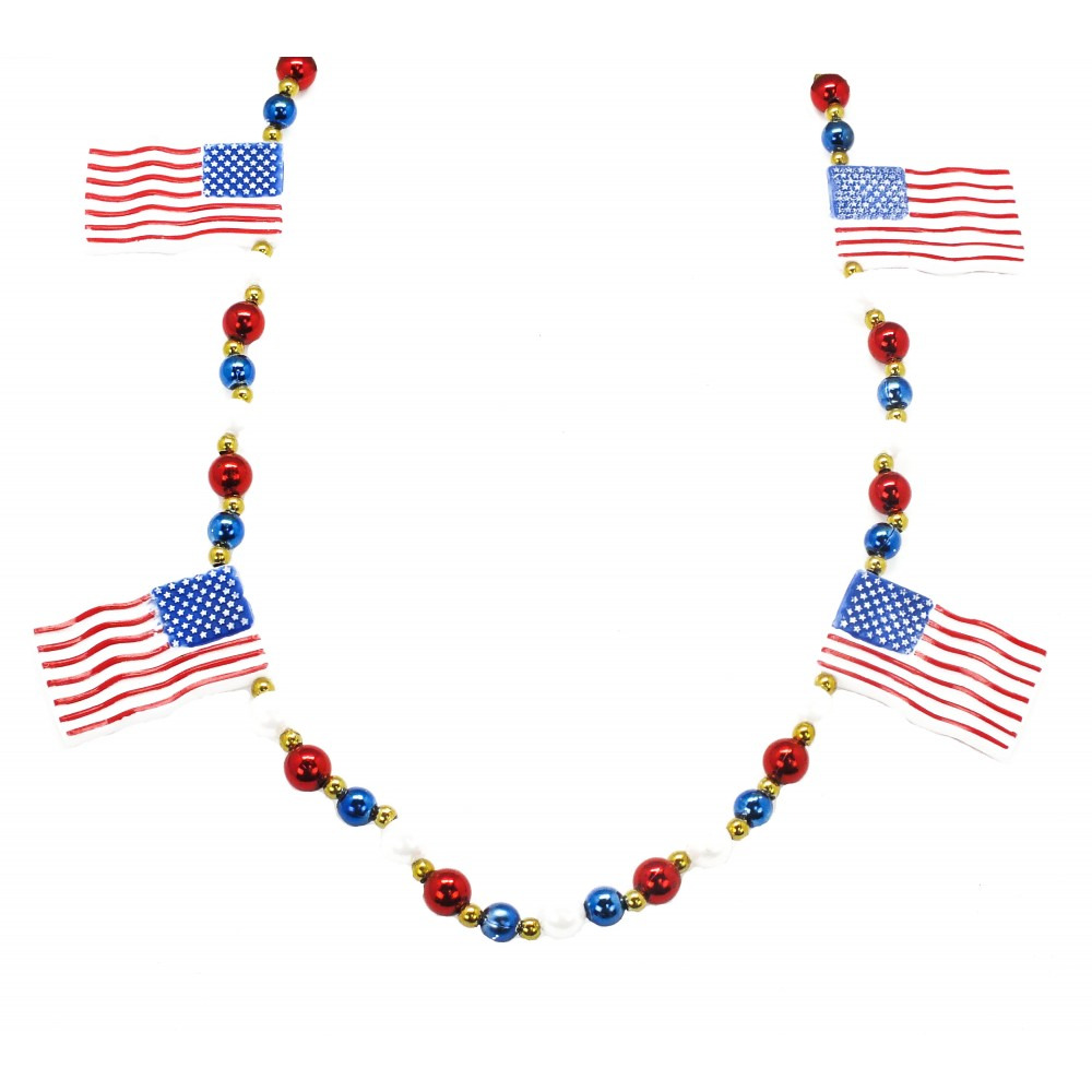 "42"" American Flags with Red, White and Blue Beads"