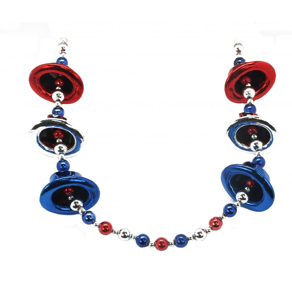 """42"""" Red, Blue and Silver Top Hats Bead"""