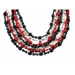 """36"""" Skull and Bones Beads Red, Silver and Black"""