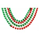"""40"""" 10mm Round Beads Red, Green, and White Sectional"""