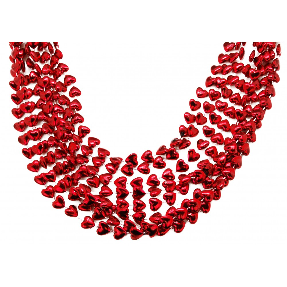 """36"""" 12mm Heart Beads Red"""