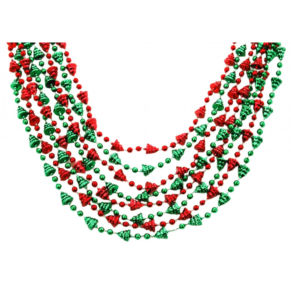 """42"""" 12mm Mini Christmas Trees Red and Green"""