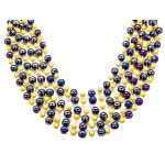 """36"""" 12mm Round Two Tone Purple and Yellow Beads"""