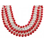 "40"" 12mm Round Beads Red and Silver"