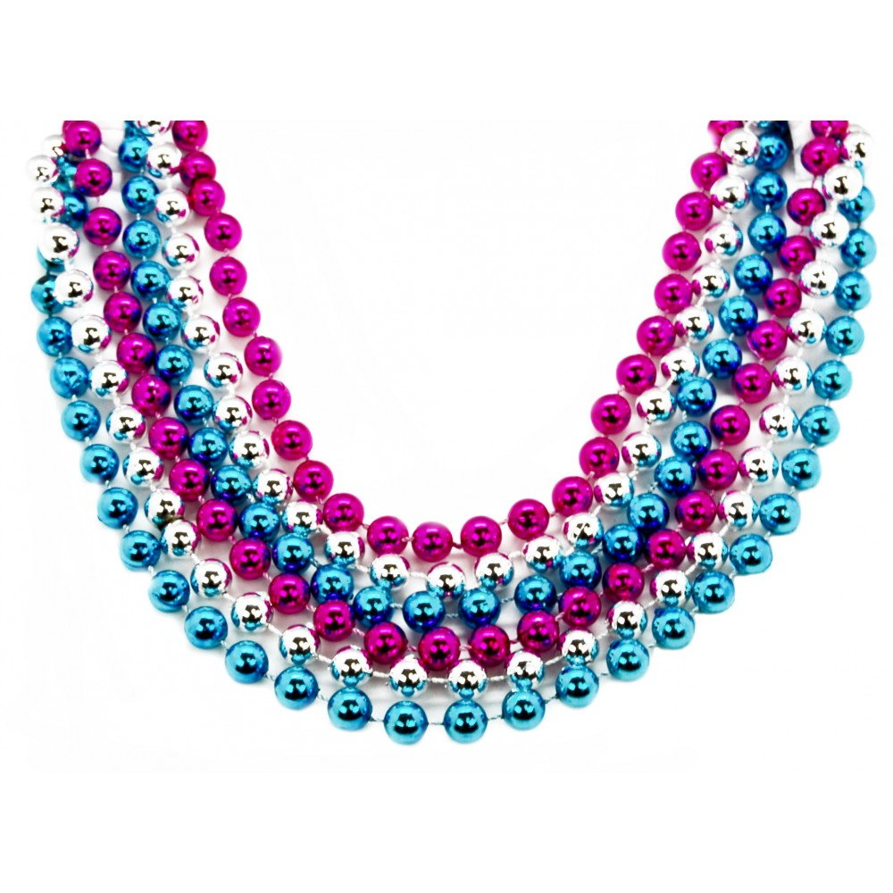 "40"" 12mm Round Beads Hot Pink, Light Blue, and Silver"