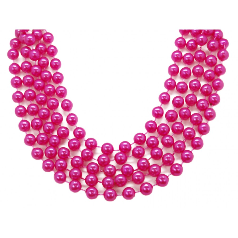 """48"""" 14mm Round Beads Hot Pink Pearl"""