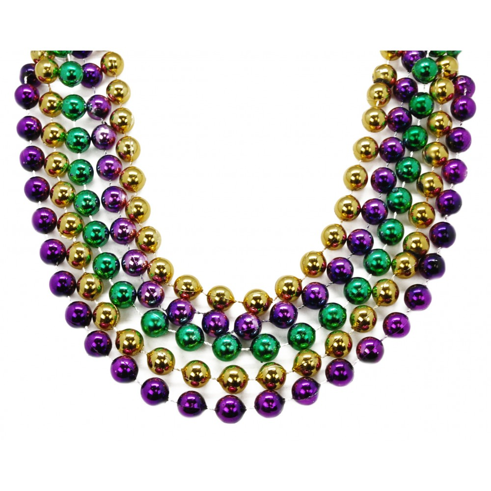 """48"""" 14mm Round Beads Purple, Green, and Gold"""