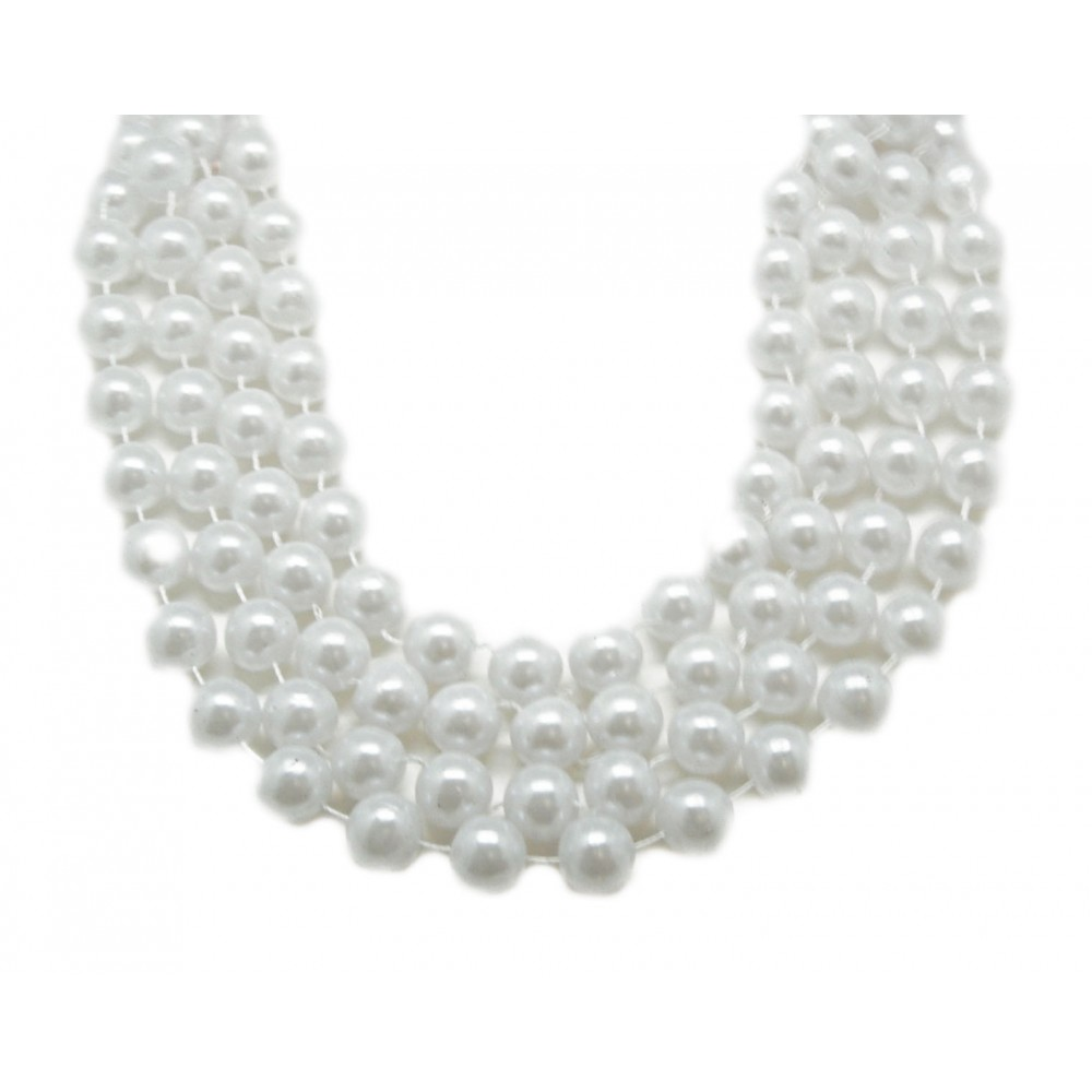 "48"" 14mm Round Beads White Pearl"