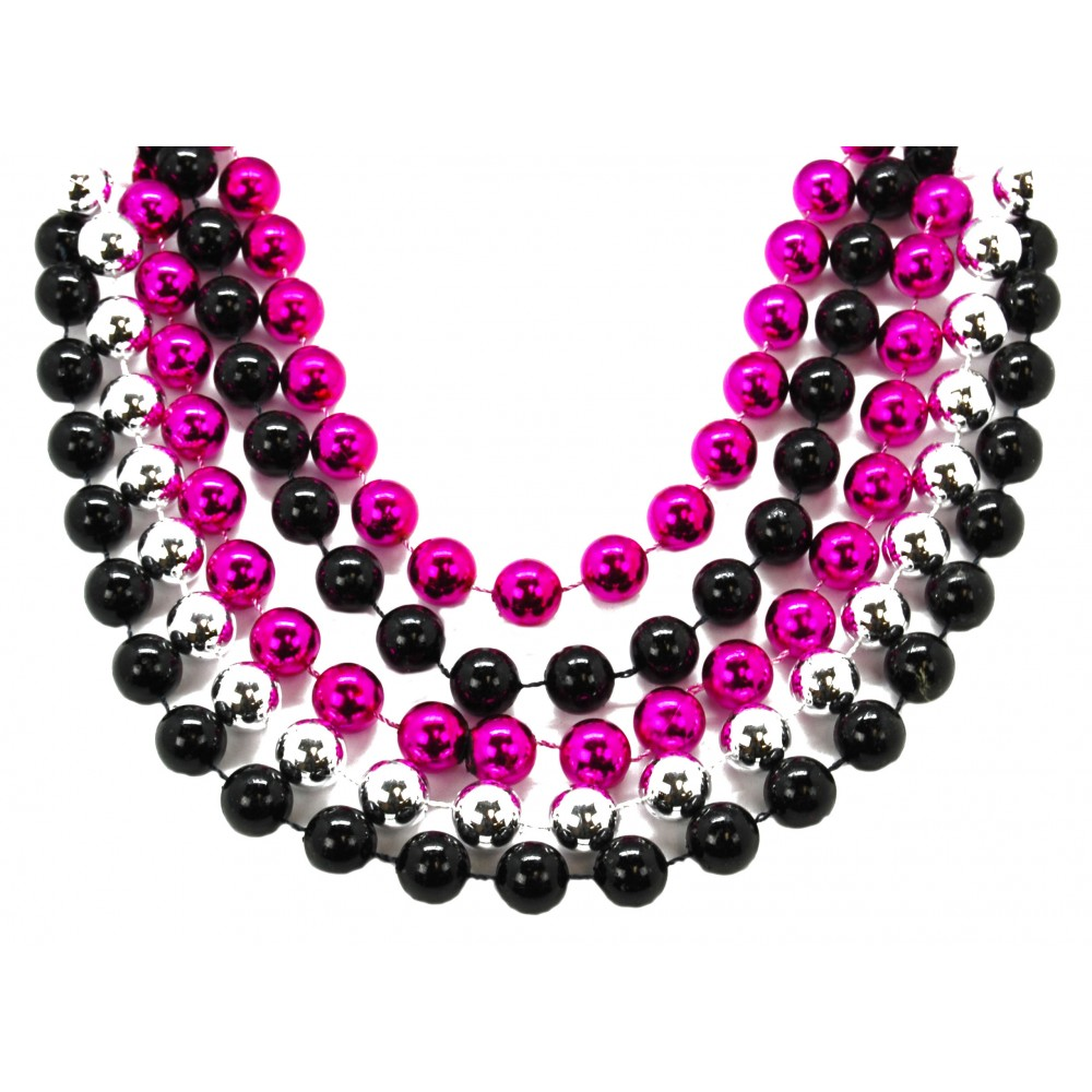 "48"" 16mm Round Beads Hot Pink, Silver, and Black"