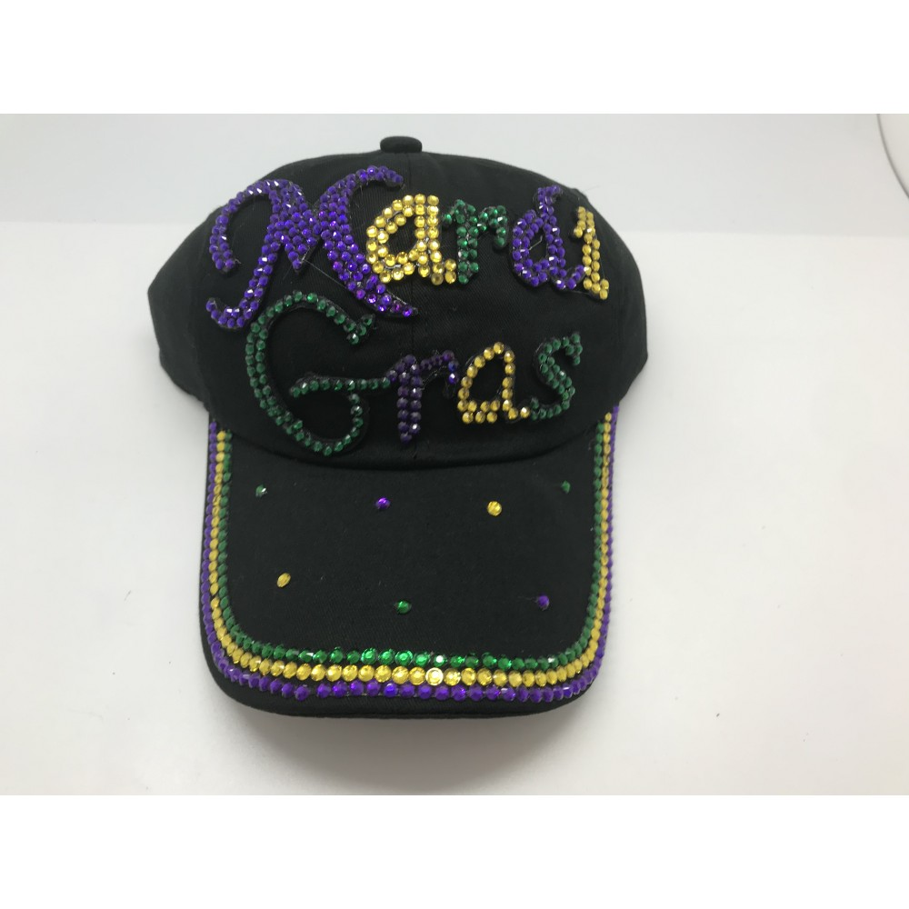 BLACK JEWELED MARDI GRAS CAP
