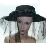 Black Veiled Widow's Hat