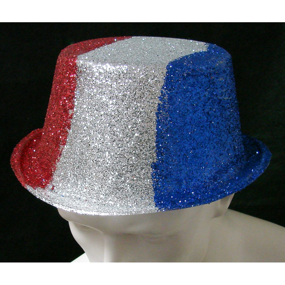 Red, Blue, and Silver Glitter Hat