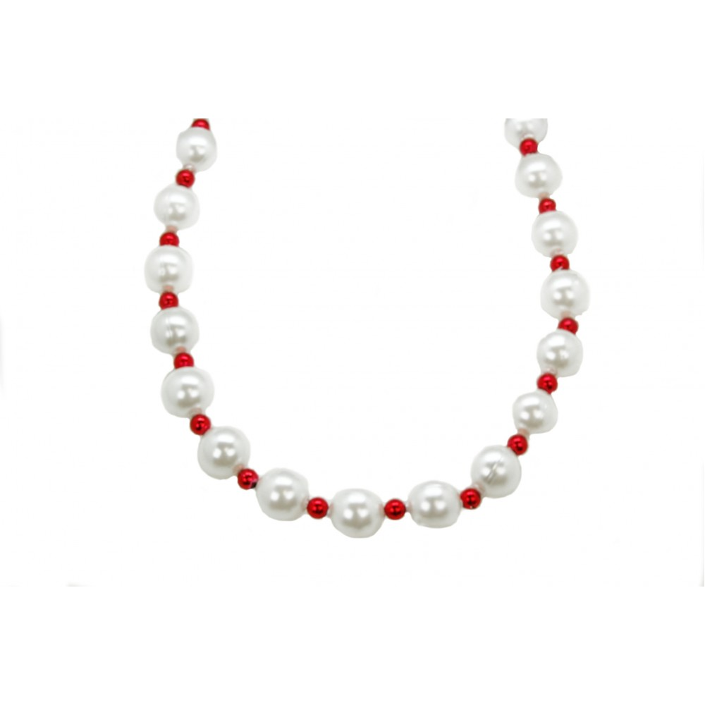 25mm White Pearl with Red