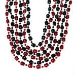 """36"""" Red and Black Skull Beads"""