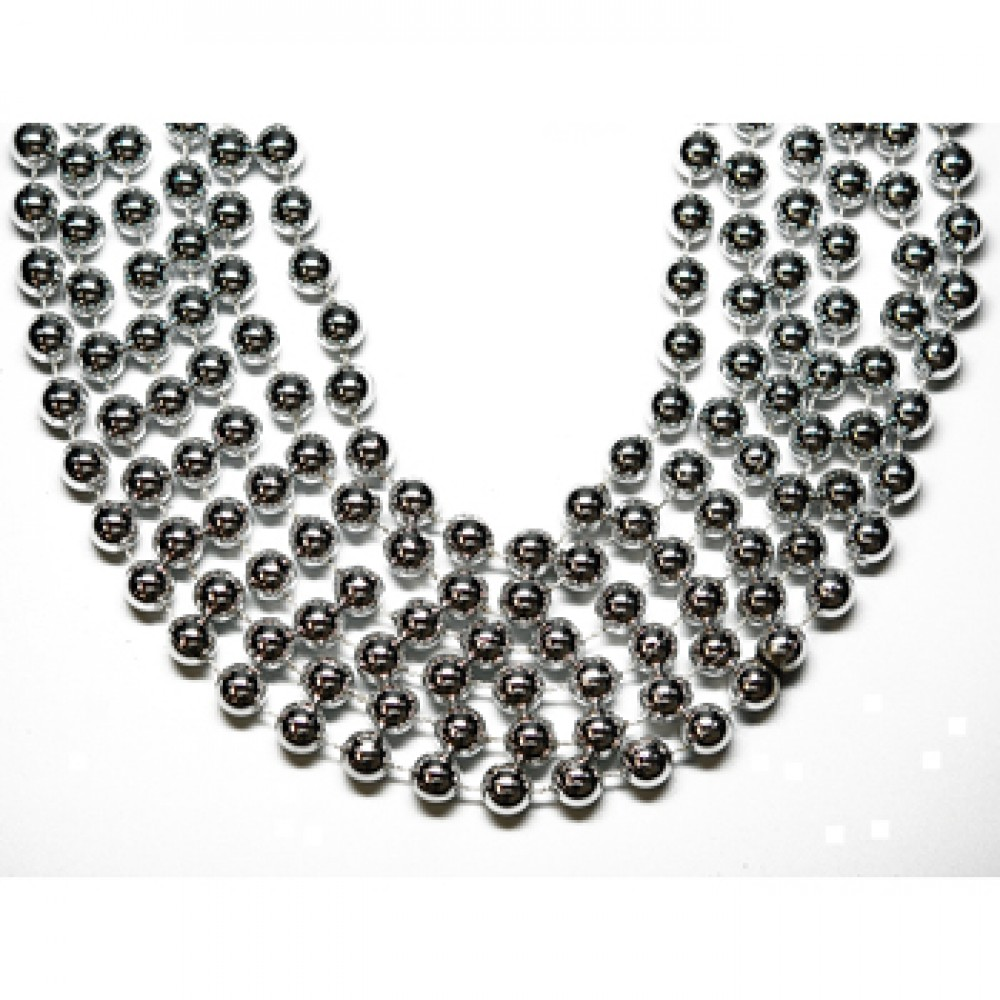 """48"""" 18mm Round Beads Silver"""