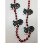 "42"" Red and White Pearl Beads with Elephant Heads"