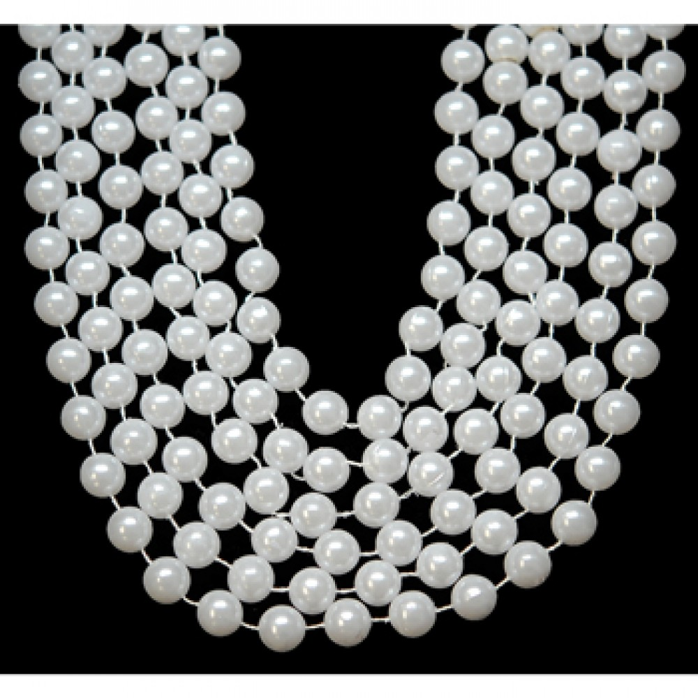 "60"" 18mm Round Beads White Pearl"