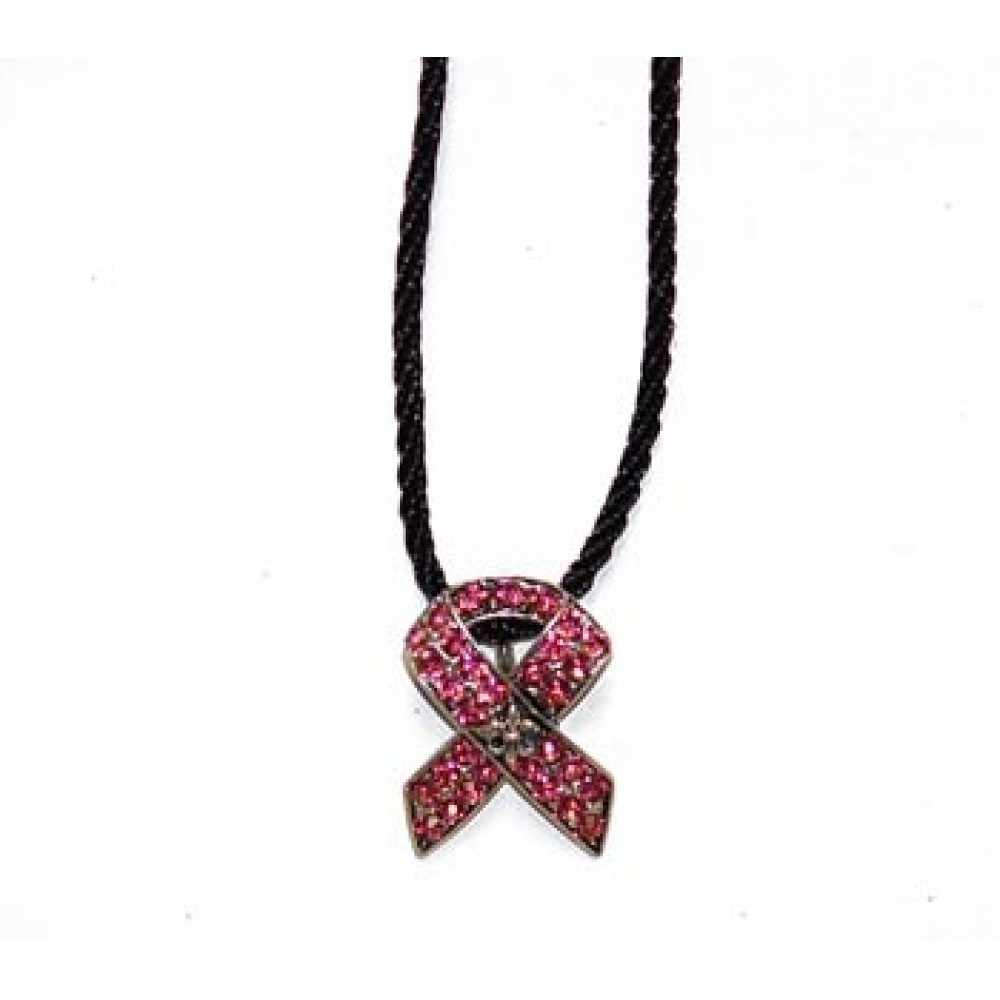 Pink Crystal Fleur de Lis Ribbon Necklace