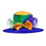 Mardi Gras Hat with Feather & Bow Trim