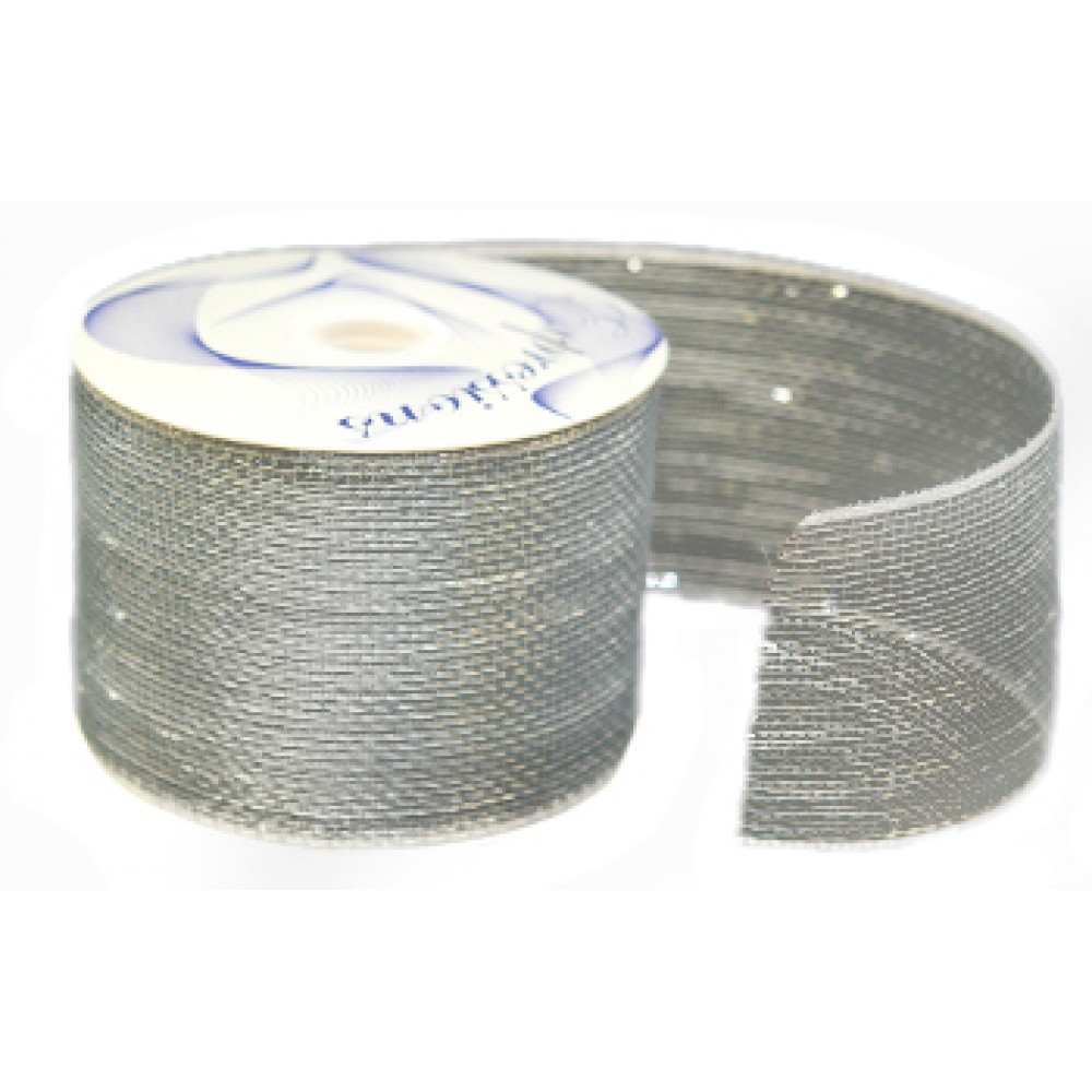 "4"" x 25 Yard Silver Metallic Mesh Ribbon"