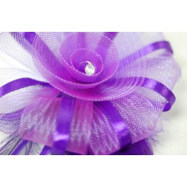 Purple Mesh and Feather Brooch