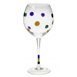 """8"""" Clear White Wine Glass w/Purple,Gold and Green Polka Dots"""