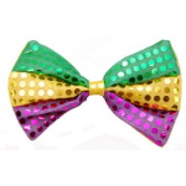 Purple, Green, and Gold Striped Sequin Bow Tie