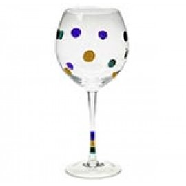 """9"""" Clear Red Wine Glass w/Purple,Gold and Green Polka Dots"""