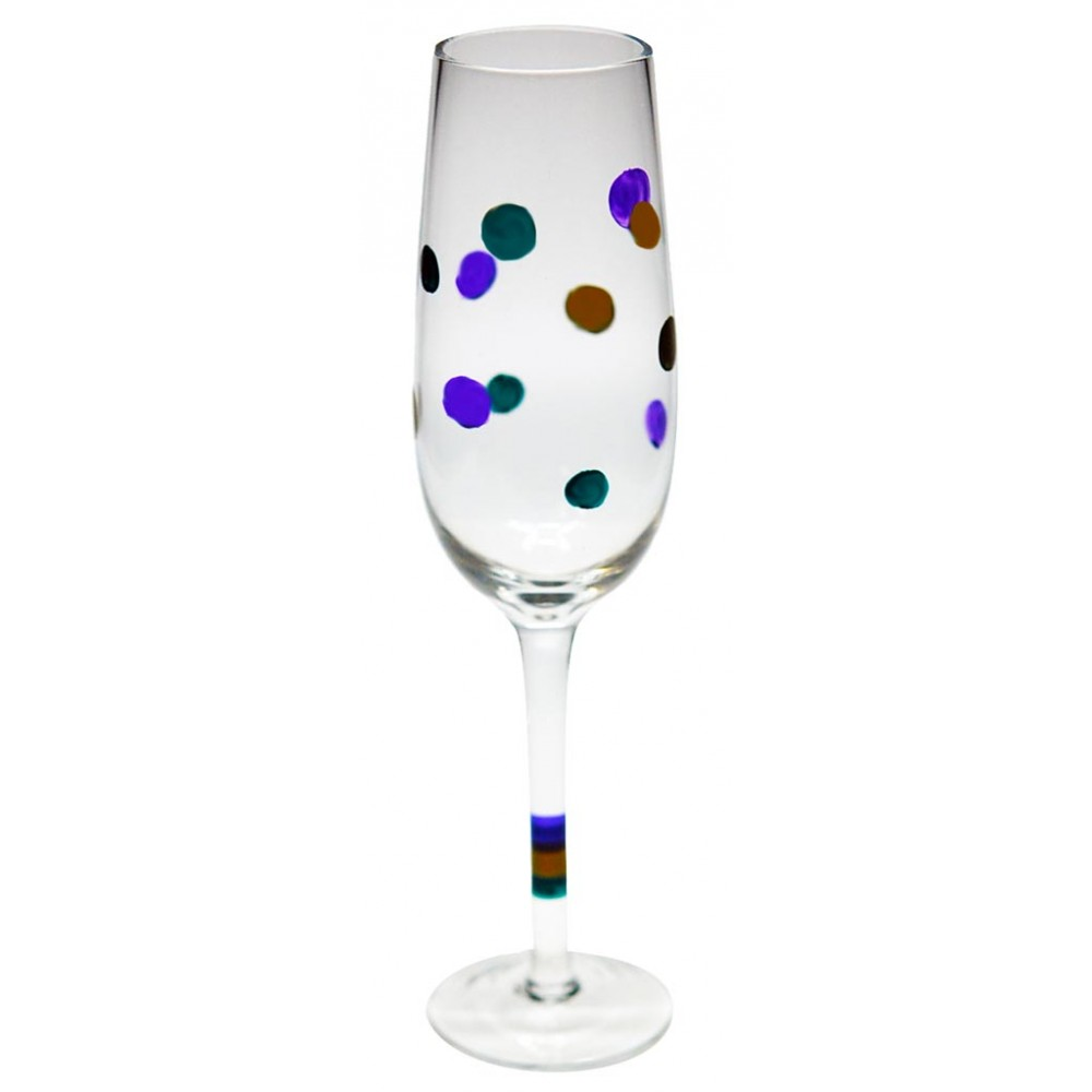 """8"""" Clear Champagne Glass w/Purple,Gold and Green Polka Dots"""