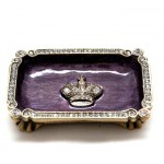 "3.25""x2.75"" Purple and Gold Dish w/ Crown"