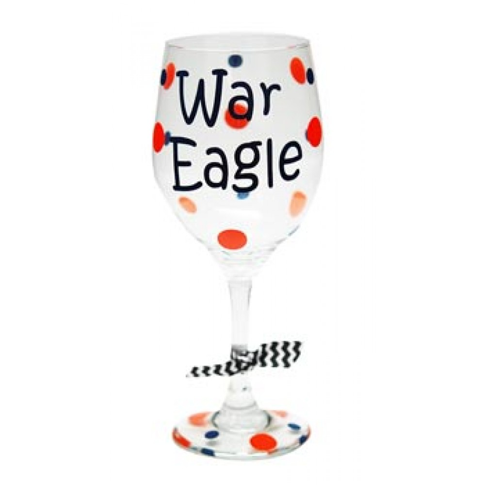 Auburn Decorated Wine Glass