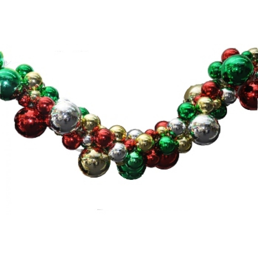 6' Christmas Ball Decoration, Red, Green, Gold & Silver