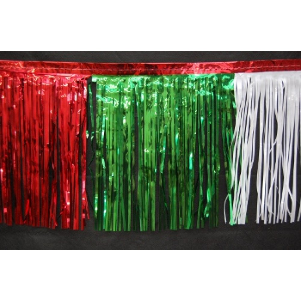 "15"" x 10' Red, Green, and White Fringe"