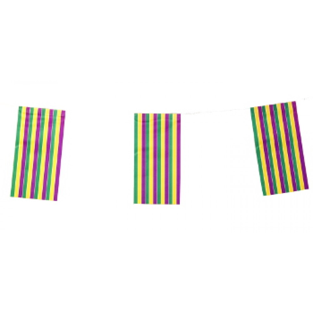 Purple, Green, and Gold Vertical Strip Flag Garland