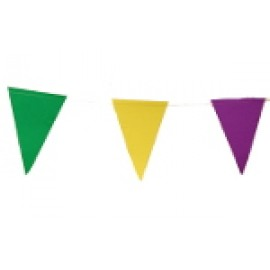 13' Purple, Green, and Gold Pennant Garland