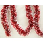 15' Red and White Tinsel Garland