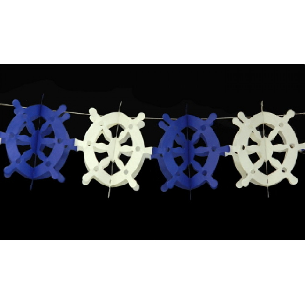 13' Blue and White Steering Wheel Garland