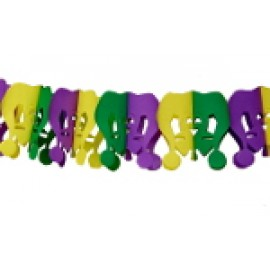 10' Purple, Green, and Gold Jester Tissue Garland