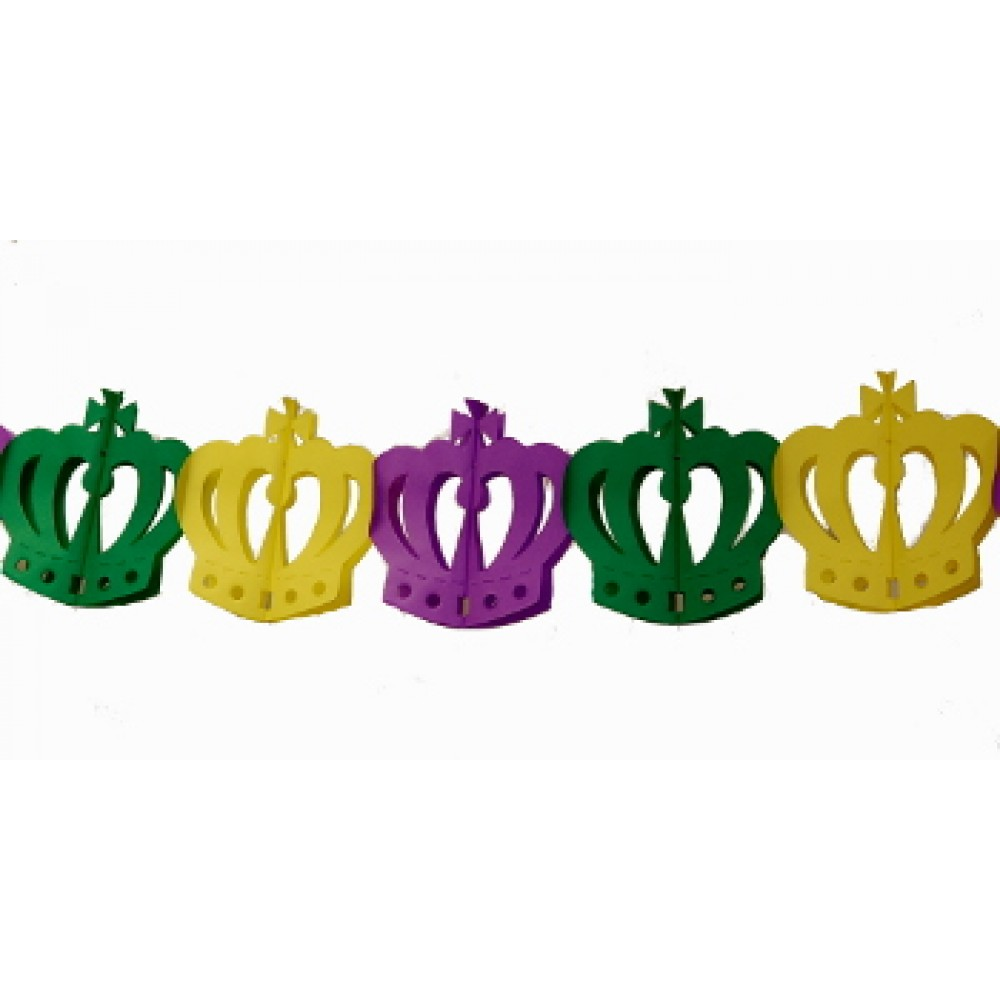 10' Purple, Green, and Gold Crown Tissue Garland