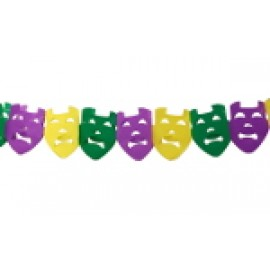 "10"" Purple, Green, and Gold Comedy Tragedy Tissue Garland"
