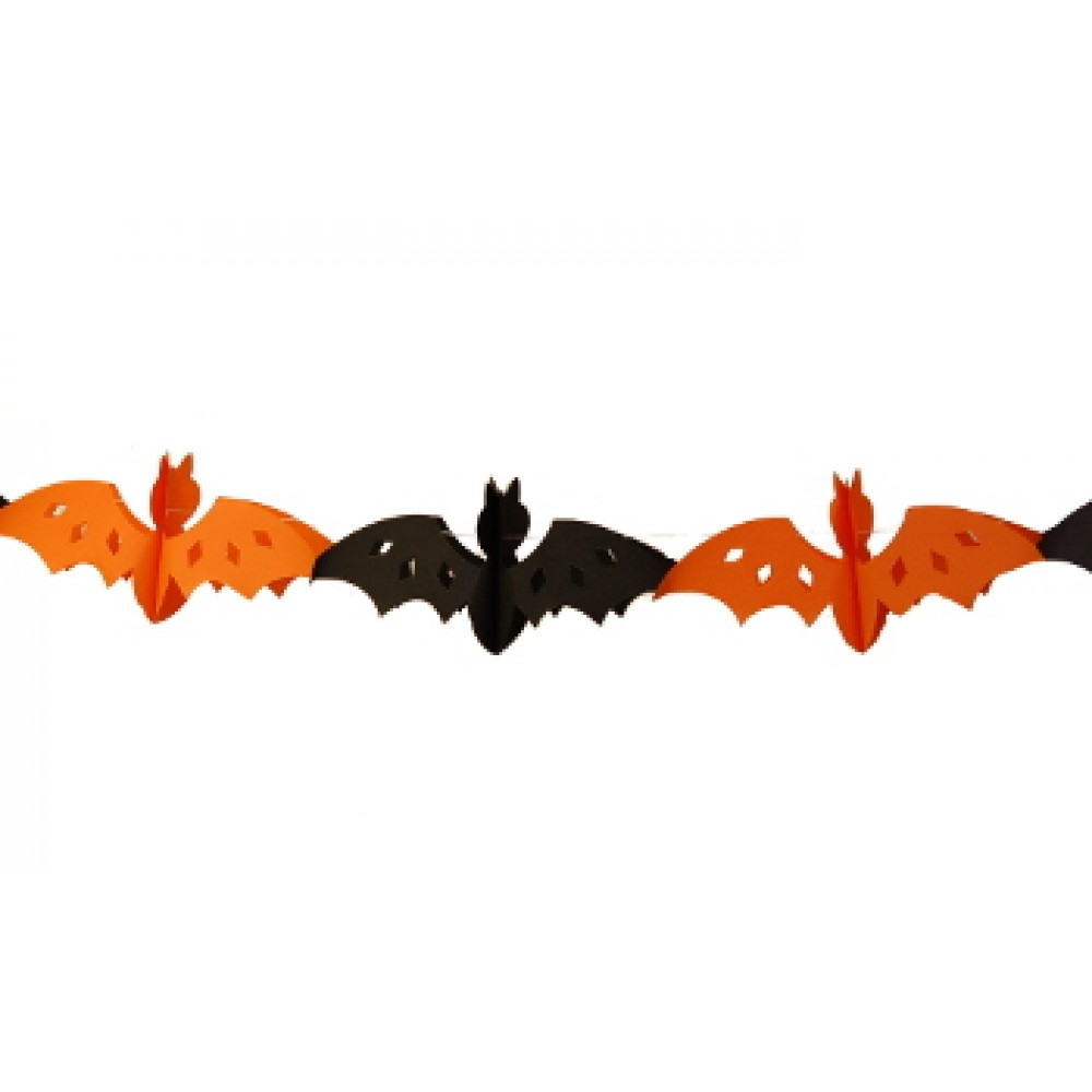 "10"" Orange and Black Bat Tissue Garland"