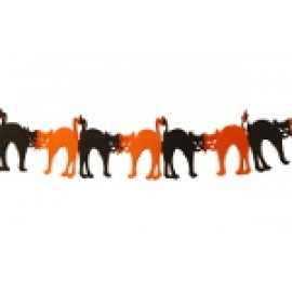 "10"" Orange and Black Cat Tissue Garland"