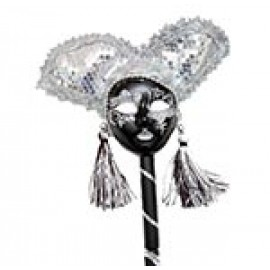 """17"""" Black and Silver Jester on Stick"""
