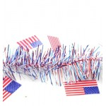9' Patriotic Tinsel Garland with American Flags